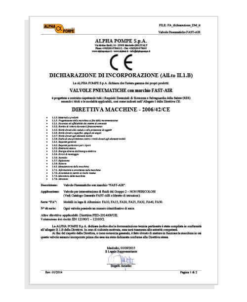 Alpha Pompe | Certificato Direttiva Macchine Valvole pneumatiche Fastair