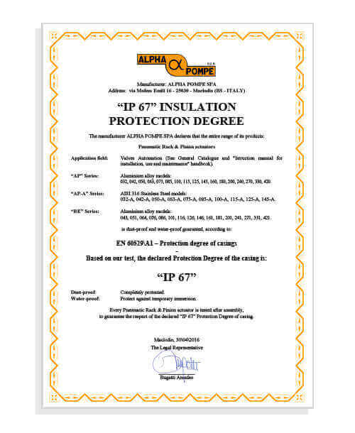 Alpha Pompe | ip67 insulation protection degree