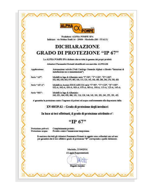 Alpha Pompe | Dichiarazione grado di protezione IP67 Attuatori pneumatici