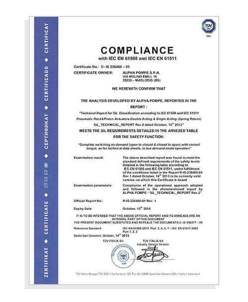Alpha Pompe | Certificato IEC EN 61508 - IEC EN 61511