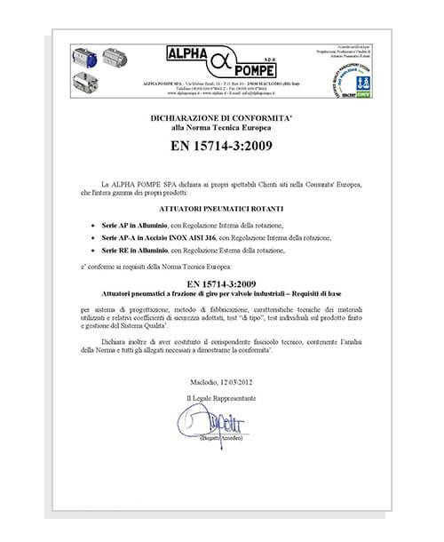 Dichiarazione di conformità EN 15714-3:2009