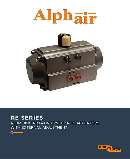 Alpha Pompe | Catalogue Aluminium rotating pneumatic actuators with external adjustment RE SERIES