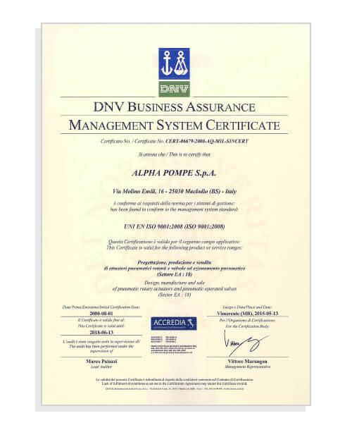 ISO 9001:2008 Certificato qualità aziendale Alpha Pompe