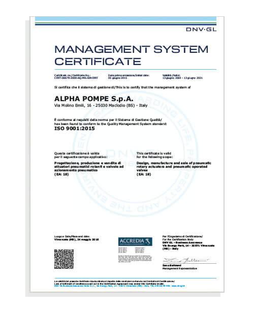 Alpha Pompe | Alpha Pompe certificato ISO 9001:2015