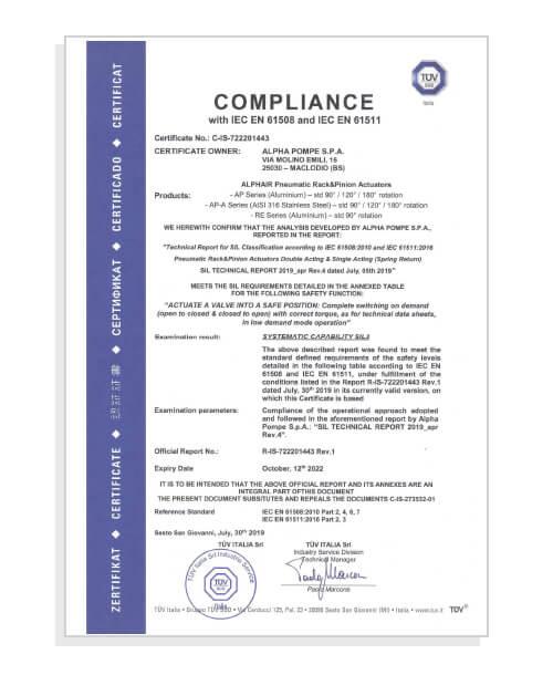 Alpha Pompe - Declaration IEC61508