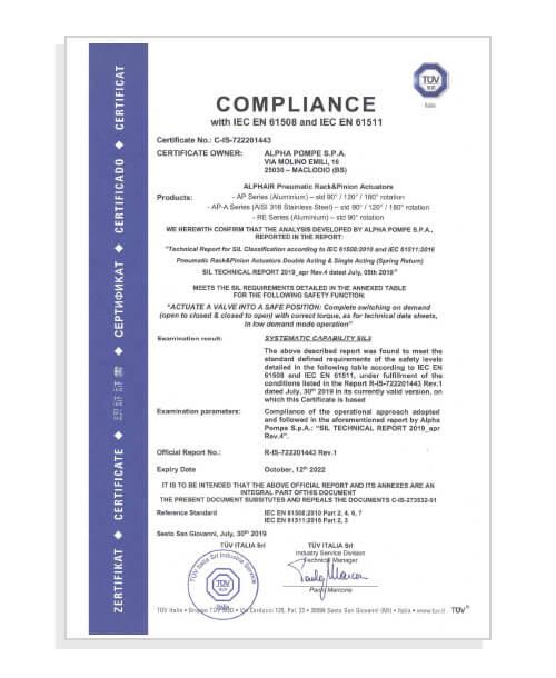 Alpha Pompe Certificato IEC EN 61508/61511 - Maclodio Brescia