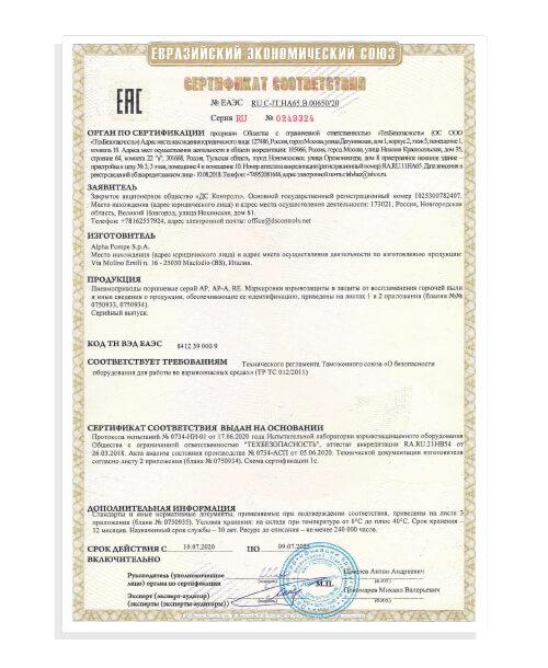 Certificato TU-CRE Alpha Pompe 2020-2025