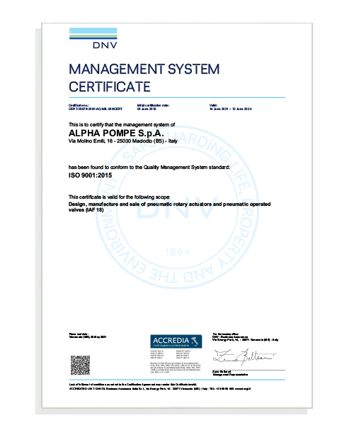 Management System Certificate ISO 9001:2015 - Alpha Pompe S.p.A
