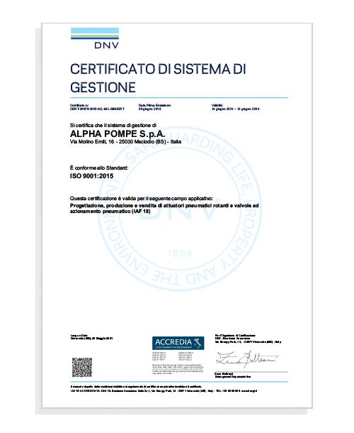 Certificato ISO 9001:2015 - Alpha Pompe S.p.A